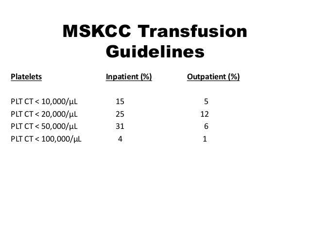 MSKCC Transfusion Guidelines Platelets Inpatient (%) Outpatient (%) PLT CT < 10,000/μL 15 5 PLT CT < 20,000/μL 25 12 PLT C...