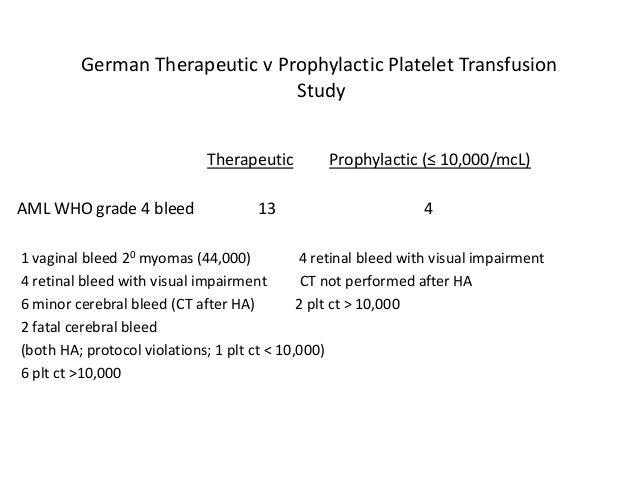 Platelet Transfusion Guidelines 1) PLT CT < 10,000/mcL 2) PLT CT < 20,000/mcL for outpatient 3) PLT CT < 20,000/mcL for re...