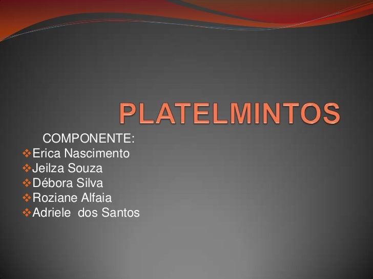 PLATELMINTOS<br />      COMPONENTE: <br /><ul><li>Erica Nascimento