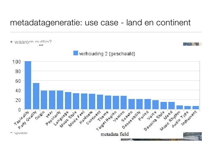 metadatageneratie: use case - land en continent      • waarom nuttig?         • subgenres        • populariteit        • r...