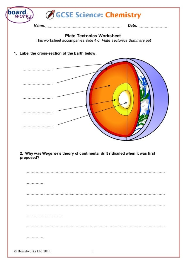 Plate tectonics worksheet