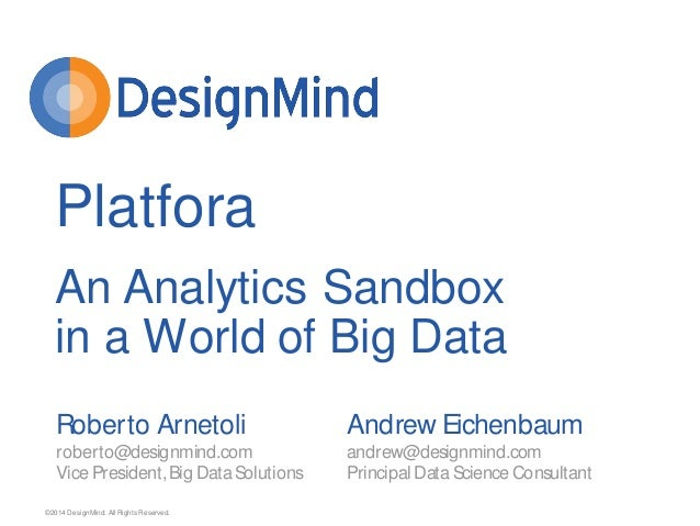 ©2014 DesignMind. All Rights Reserved. An Analytics Sandbox in a World of Big Data Roberto Arnetoli roberto@designmind.com...