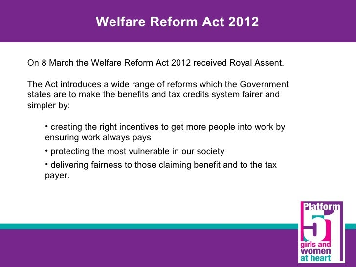 the welfare reform law essay Welfare reform is generally described as a government's attempt to change the social welfare policy of the country a main goal of these reforms is to reduce the.