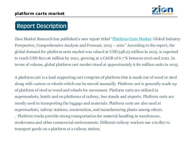 Platform Carts Market will Reach USD 548.25 Million in 2021: Zion Market Research Slide 2