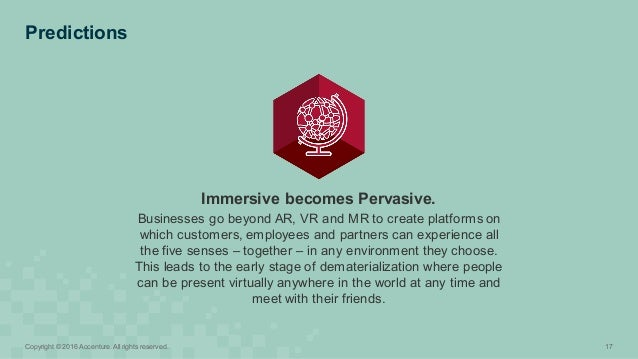 Predictions 17Copyright © 2016 Accenture. All rights reserved. Immersive becomes Pervasive. Businesses go beyond...