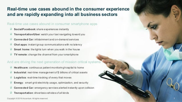 Real-time use cases abound in consumer smartphone apps Social/Facebook: share experiences instantly  Transport...