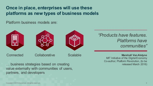 Once in place, enterprises will use these  platforms as new types of business models 9Copyright © 2016 Acc...