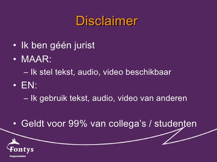 Auteursrecht of -krom bij onderwijsmaterialen? Slide 2