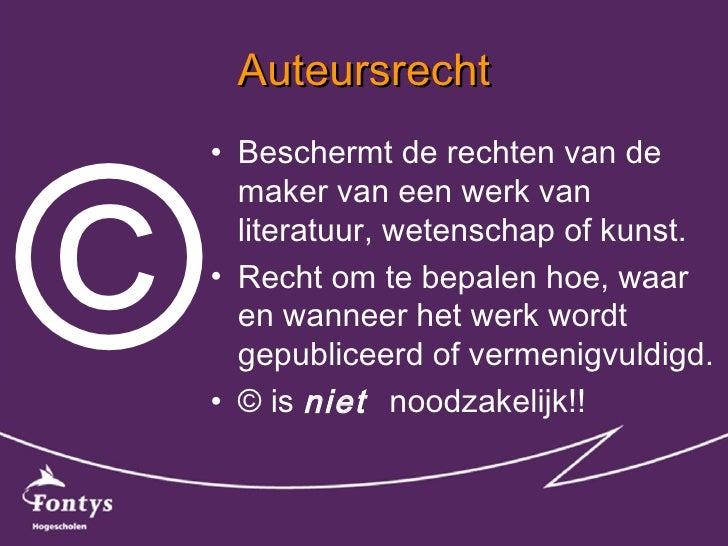 Auteursrecht of -krom bij onderwijsmaterialen? Slide 3