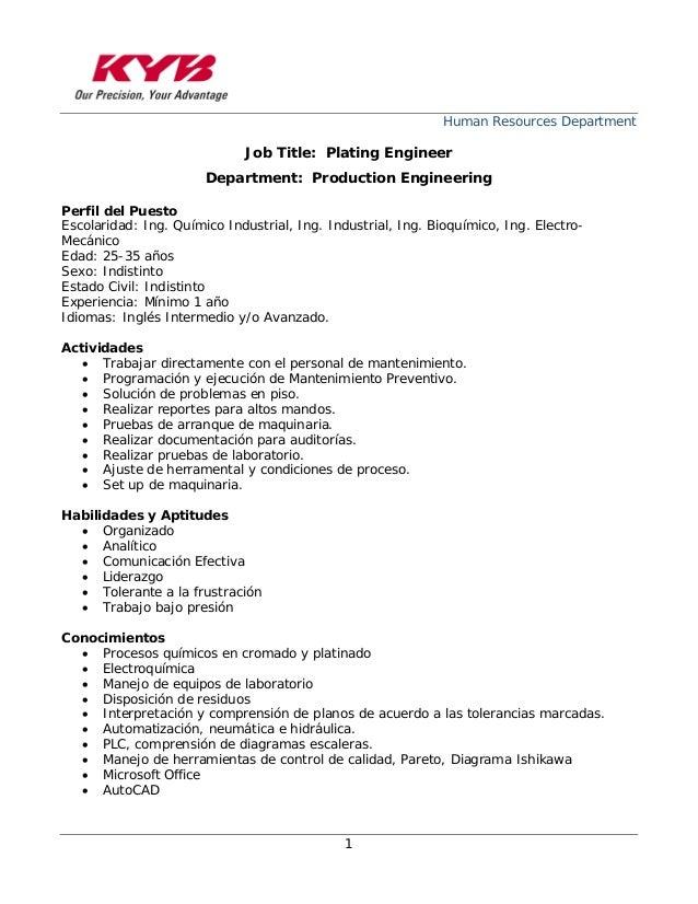human resources department 1 job title plating engineer department production engineering perfil del puesto - Manufacturing Engineering Job Description