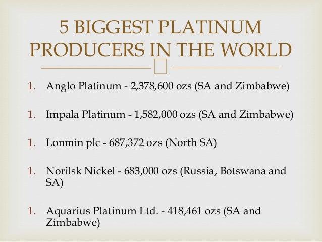 1. Anglo Platinum - 2,378,600 ozs (SA and Zimbabwe) 1. Impala Platinum - 1,582,000 ozs (SA and Zimbabwe) 1. Lonmin plc - 6...