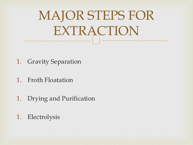 1. Gravity Separation 1. Froth Floatation 1. Drying and Purification 1. Electrolysis MAJOR STEPS FOR EXTRACTION