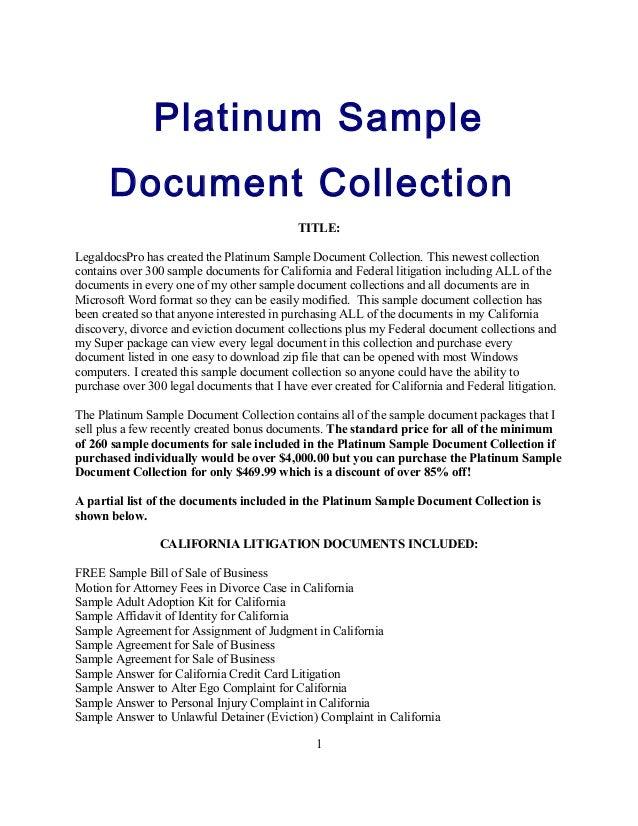Platinum Sample Document Collection