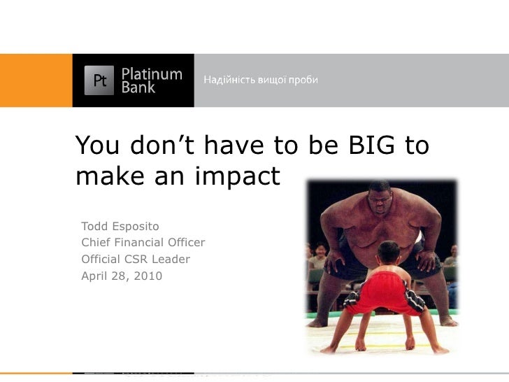 You don't have to be BIG to make an impact Todd Esposito Chief Financial Officer Official CSR Leader April 28, 2010