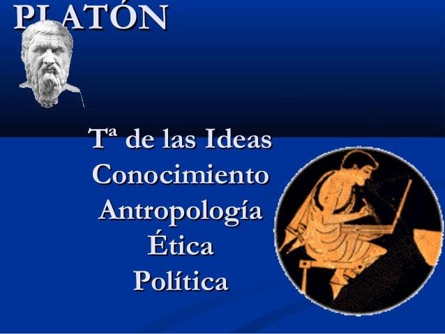 PLATÓNPLATÓN Tª de las IdeasTª de las Ideas ConocimientoConocimiento AntropologíaAntropología ÉticaÉtica PolíticaPolítica