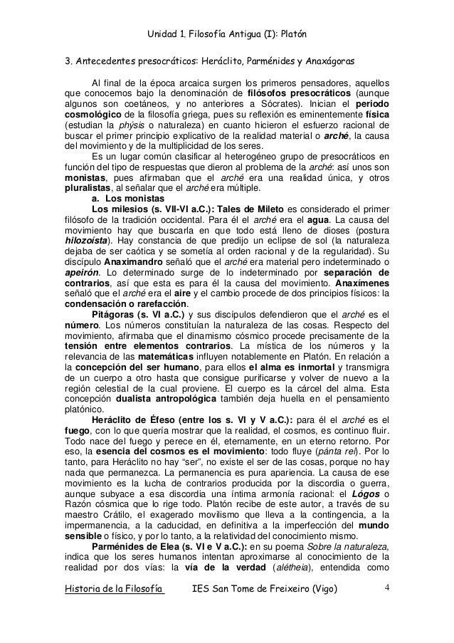 Unidad 1. Filosofía Antigua (I): Platón Historia de la Filosofía IES San Tome de Freixeiro (Vigo) 4 3. Antecedentes presoc...