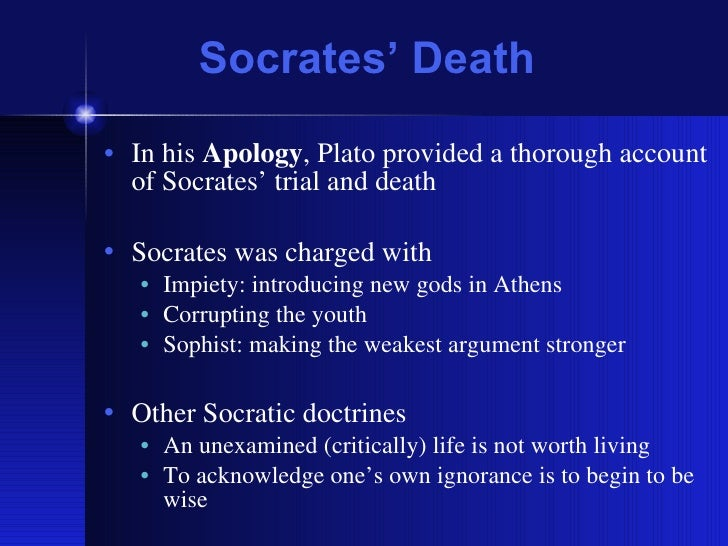 the injustice in the trial of socrates The doctor in such a trial would be at an utter dead end (en pas ei aporiai:  it is only conviction on a true charge of having done injustice that socrates fears.