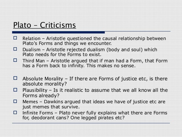 plato and aristotle views on forms What is the difference between plato's and aristotle's idea essaysaristotle believed that for something to be real it had to have a substance and a form or a body and a soul.