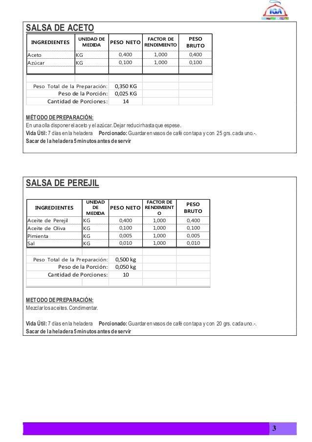 Ficha tecnica y ficha de costos de un plato principal para for Tecnicas culinarias pdf