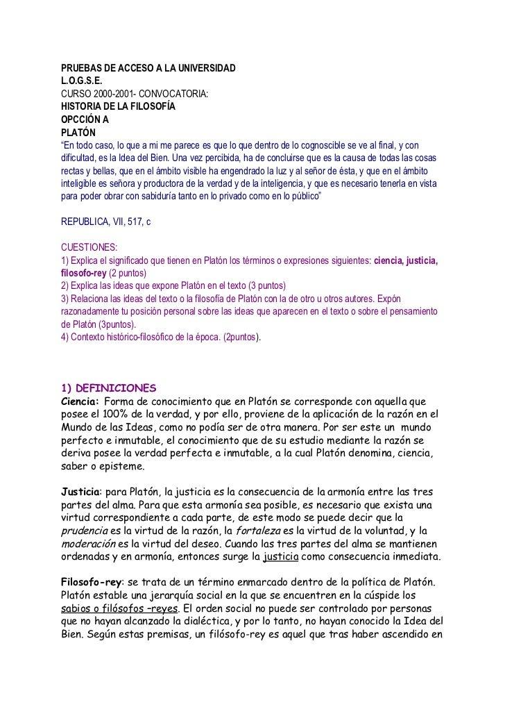 """PRUEBAS DE ACCESO A LA UNIVERSIDAD L.O.G.S.E. CURSO 2000-2001- CONVOCATORIA: HISTORIA DE LA FILOSOFÍA OPCCIÓN A PLATÓN """"En..."""
