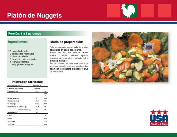 Platón de Nuggets Porción: 6 a 8 personas                                                            Fría los nuggets en a...