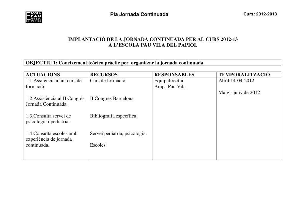 Pla Jornada Continuada                            Curs: 2012-2013                     IMPLANTACIÓ DE LA JORNADA CONTINUADA...