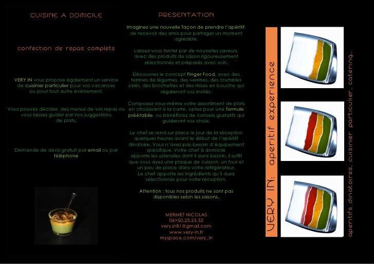 CUISINE A DOMICILE                                    PRESENTATION                                                 Imagine...