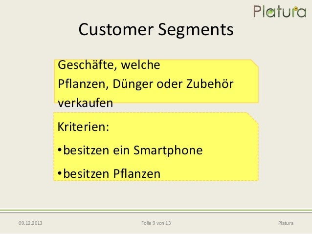 Customer Segments Geschäfte, welche Pflanzen, Dünger oder Zubehör verkaufen  Kriterien: •besitzen ein Smartphone  •besitze...