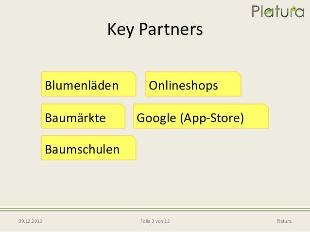Key Partners Blumenläden Baumärkte  Onlineshops Google (App-Store)  Baumschulen  09.12.2013  Folie 3 von 13  Platura