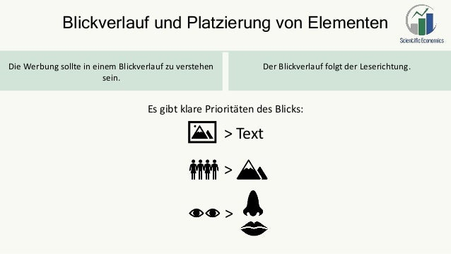 Blickverlauf und Platzierung von Elementen Die Werbung sollte in einem Blickverlauf zu verstehen sein. Der Blickverlauf fo...