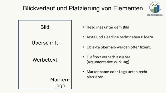 Blickverlauf und Platzierung von Elementen • Headlines unter dem Bild • Texte und Headline recht neben Bildern • Objekte o...