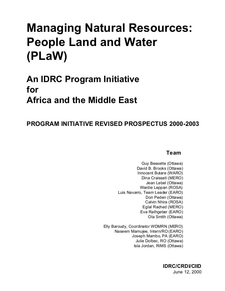Managing Natural Resources:People Land and Water(PLaW)An IDRC Program InitiativeforAfrica and the Middle EastPROGRAM INITI...
