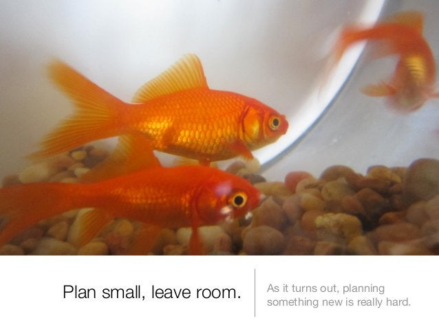 Plan small, leave room.  As it turns out, planning something new is really hard.