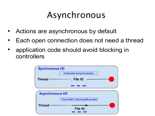 Asynchronous  Actions are asynchronous by default  Each open connection does not need a thread  application code should...