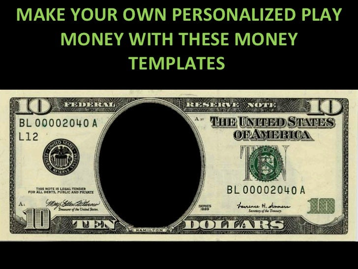 custom fake money template - play money personalized templates