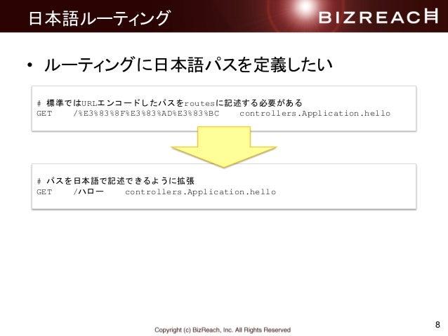日本語ルーティング • ルーティングに日本語パスを定義したい 8 # 標準ではURLエンコードしたパスをroutesに記述する必要がある GET /%E3%83%8F%E3%83%AD%E3%83%BC controllers.Applicat...