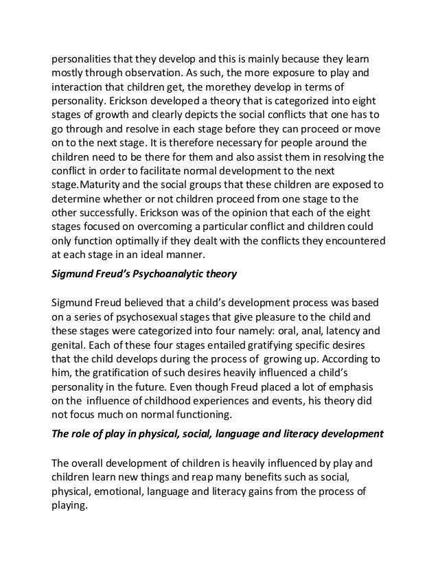 Essays on personality development of children