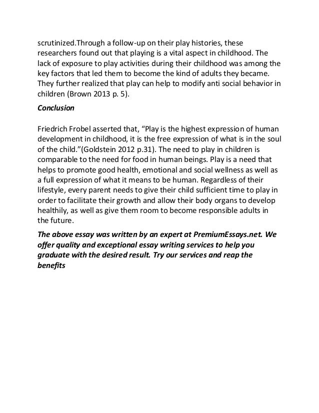 play and child development sample essay  childhood 9 scrutinized