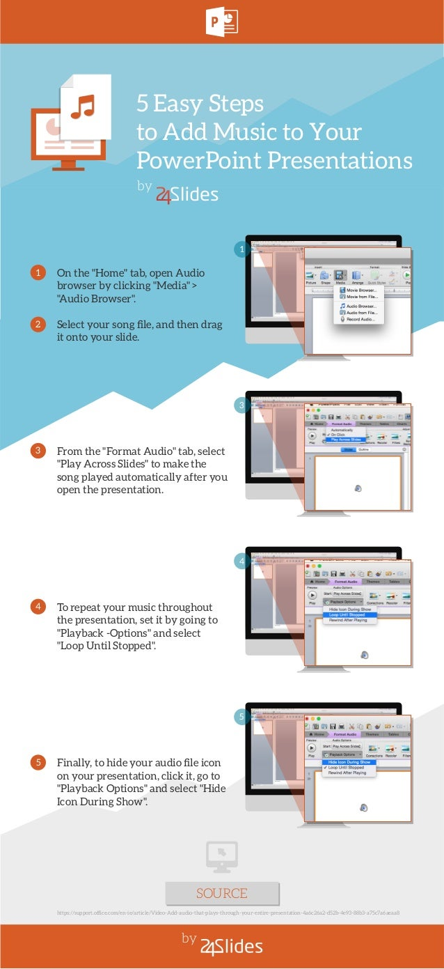 """5 Easy Steps to Add Music to Your PowerPoint Presentations by 3 From the """"Format Audio"""" tab, select """"Play Across Slides"""" t..."""