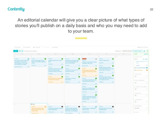 22 z An editorial calendar will give you a clear picture of what types of stories you'll publish on a daily basis and who ...