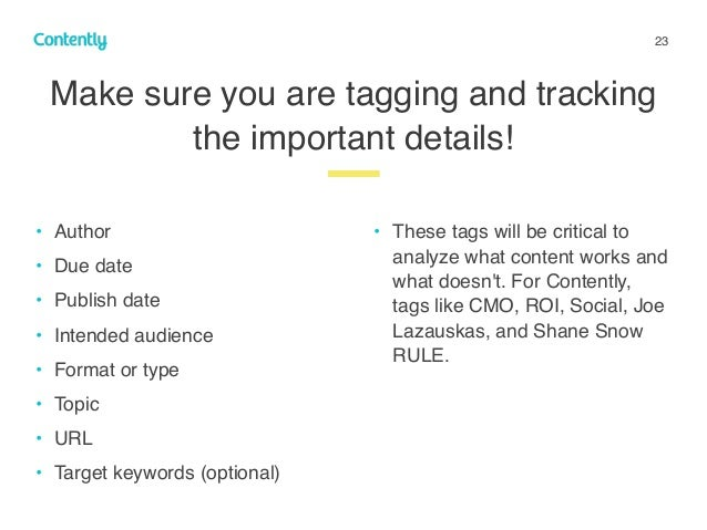 23 Make sure you are tagging and tracking the important details! z • Author • Due date • Publish date • Intended audience ...