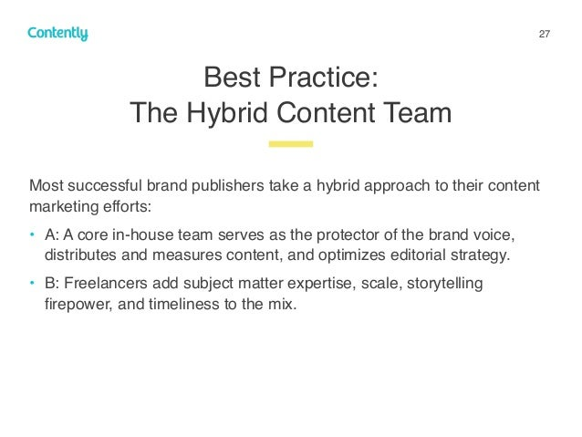 27 Best Practice:  The Hybrid Content Team z Most successful brand publishers take a hybrid approach to their content mar...