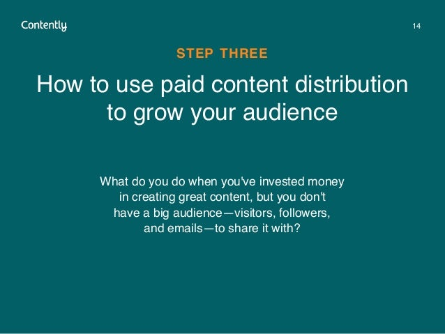 14 How to use paid content distribution to grow your audience STEP THREE What do you do when you've invested money in crea...