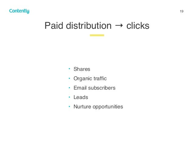 19 Paid distribution → clicks z • Shares • Organic traffic • Email subscribers • Leads • Nurture opportunities