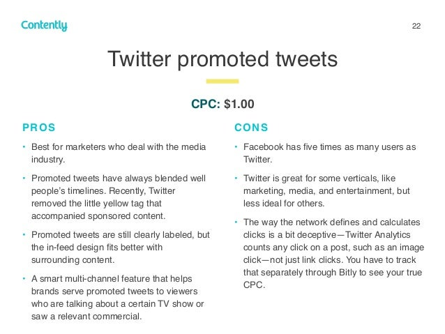 22 Twitter promoted tweets z PROS • Best for marketers who deal with the media industry. • Promoted tweets have always ble...