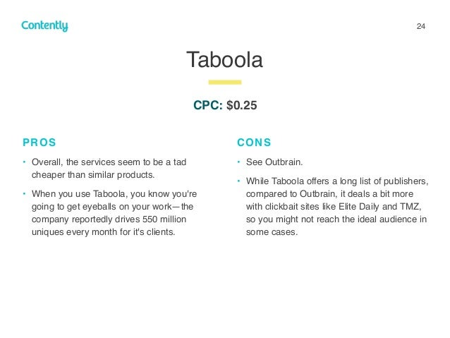 24 Taboola z PROS • Overall, the services seem to be a tad cheaper than similar products. • When you use Taboola, you know...