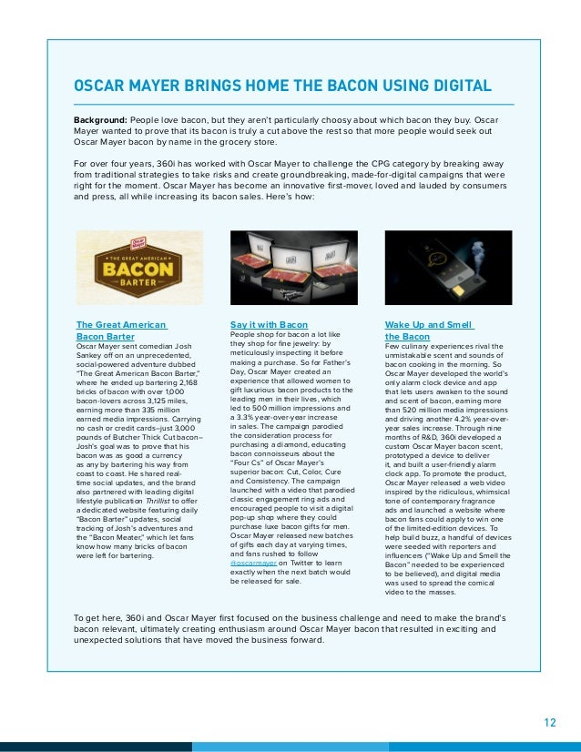 OSCAR MAYER BRINGS HOME THE BACON USING DIGITAL Background: People love bacon, but they aren't particularly choosy about w...