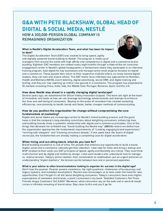 Q&A WITH PETE BLACKSHAW, GLOBAL HEAD OF DIGITAL & SOCIAL MEDIA, NESTLÉ HOW A 300,000-PERSON GLOBAL COMPANY IS REIMAGINING ...