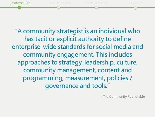 "Strategiіc CM   Cultural foundatiіon   Communiіty desiіgn           Day to day  ""A communiіty strategiіst iіs an iіndiіviі..."