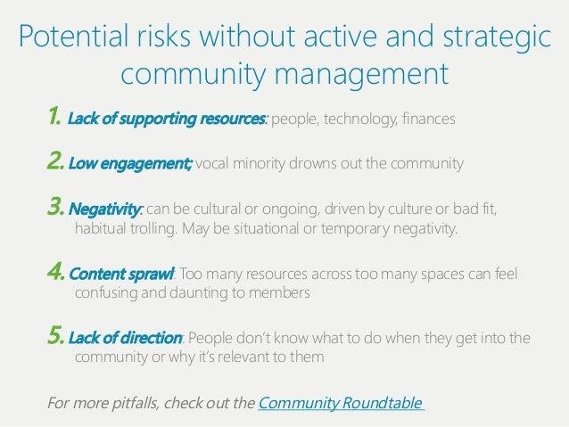 Potentiіal riіsks wiіthout actiіve and strategiіc         communiіty management  1. Lack of supportiіng resources: people...